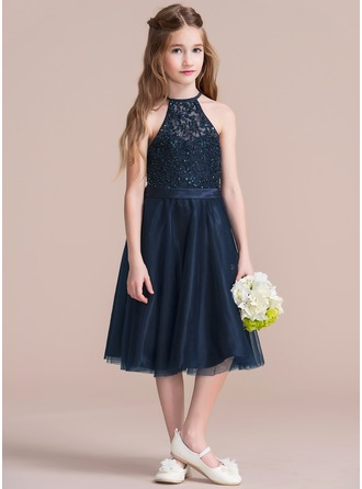 A-Line/Princess Scoop Neck Knee-Length Tulle Junior Bridesmaid Dress With Beading Sequins