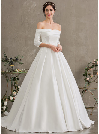 Gallakjole/Prinsesse Off-shoulder Court-slæb Satin Brudekjole