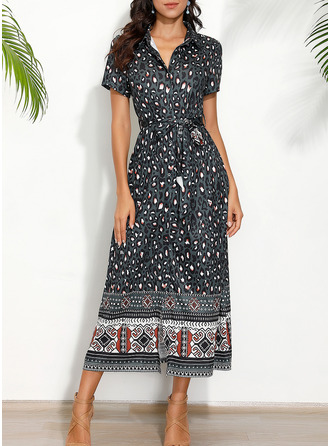 Leopard Print A-line Short Sleeves Maxi Boho Casual Vacation Skater Dresses
