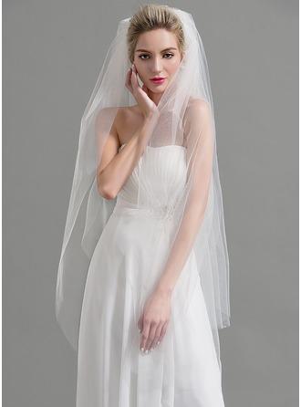 Dos capas Corte de borde Velos de novia vals con Diamantes de imitación