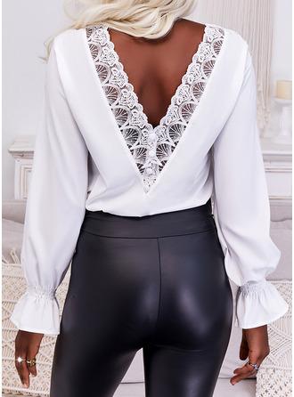Solid Round Neck Long Sleeves Elegant