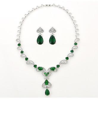 Senhoras Clássico Cobre/Platinadas com Pêra Zirconia cúbico Conjuntos de jóias Ela/Noiva