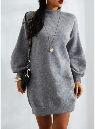 Solid Long Sleeves Casual Long Sweater Dress Dresses