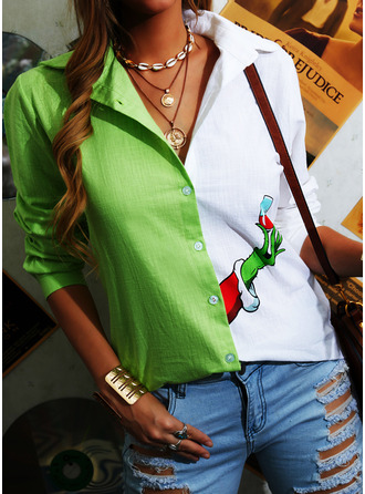 Color Block Print Lapel Long Sleeves Button Up Christmas Shirt Blouses