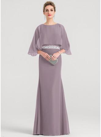 Sheath/Column Scoop Neck Floor-Length Chiffon Evening Dress With Beading Sequins