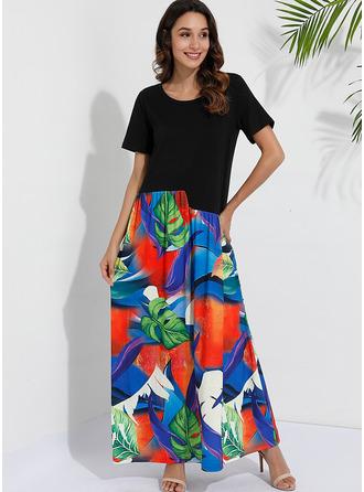 Print Shift Short Sleeves Maxi Casual Vacation Dresses