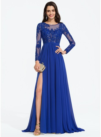 A-Line Scoop Neck Sweep Train Chiffon Prom Dresses With Sequins Split Front