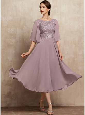 A-Line Scoop Neck Tea-Length Chiffon Lace Evening Dress