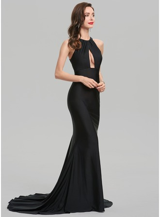 Trumpet/Mermaid Scoop Neck Sweep Train Jersey Evening Dress