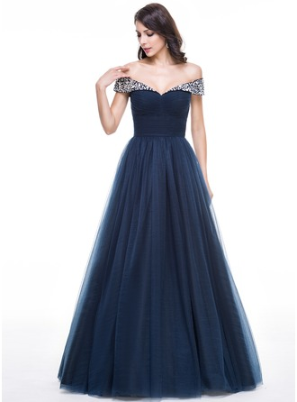 Ball-Gown Off-the-Shoulder Floor-Length Tulle Prom Dresses With Ruffle Beading