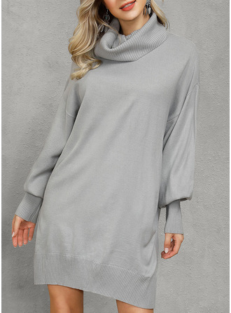 Solid Shift Lantern Sleeve Long Sleeves Mini Casual Tunic Dresses
