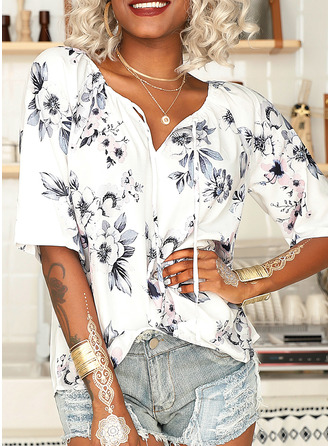 Floral Print V-Neck 1/2 Sleeves Casual