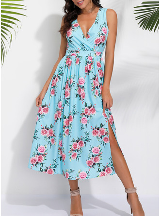 Floral A-line Sleeveless Midi Casual Dresses