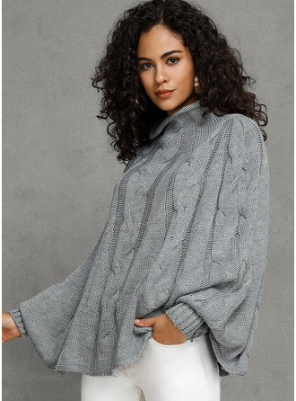Turtleneck Casual Solid Cable-knit Chunky knit Sweaters