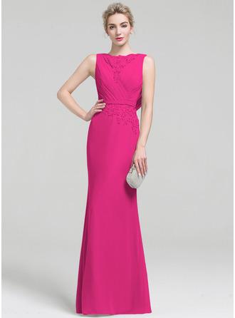 Sheath/Column Scoop Neck Floor-Length Chiffon Lace Evening Dress With Ruffle Beading Sequins