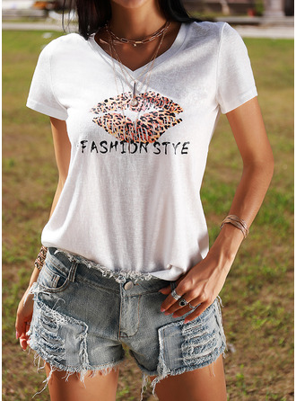 Leopard Print V-Neck Short Sleeves Casual T-shirt