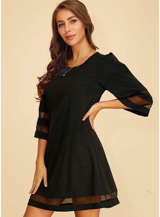 Above Knee Round Neck Polyester Solid 1/2 Sleeves Fashion Dresses