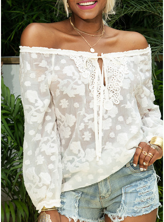 Lace Solid Off the Shoulder Long Sleeves Casual Sexy