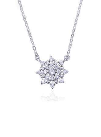 Damen Elegant 925 Sterlingsilber mit kubisch Zirkonia Halsketten Braut/Brautjungfern