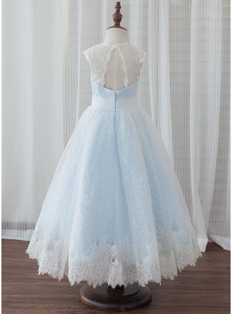 A-Line/Princess Tea-length Flower Girl Dress - Tulle/Lace Sleeveless Scoop Neck With Back Hole