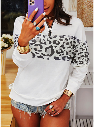 Leopard V-Neck Long Sleeves Sweatshirt