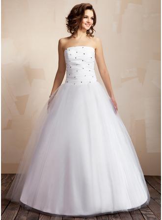 Duchesse-Linie Trägerlos Bodenlang Taft Tüll Brautkleid mit Rüschen Perlen verziert