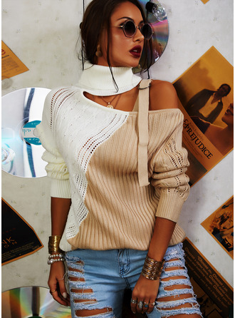 Turtleneck Casual Color Block Sweaters