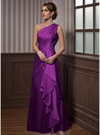 A-Line/Princess One-Shoulder Floor-Length Charmeuse Evening Dress With Cascading Ruffles