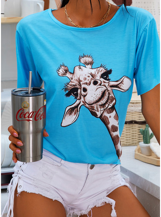Animal Print V-Neck Short Sleeves Casual T-shirt