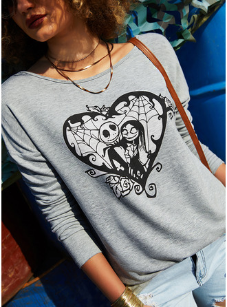 Print Heart Round Neck Long Sleeves Halloween Casual T-shirt