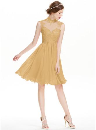 A-Line High Neck Knee-Length Chiffon Homecoming Dress