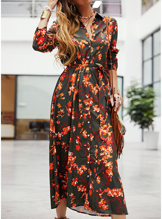 Floral Print A-line Long Sleeves Midi Casual Shirt Dresses