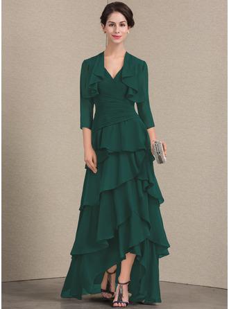 A-Linie V-Ausschnitt Asymmetrisch Chiffon Kleid für die Brautmutter mit Perlstickerei Pailletten Gestufte Rüschen