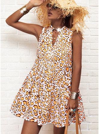 Leopard Print A-line Sleeveless Mini Casual Skater Dresses