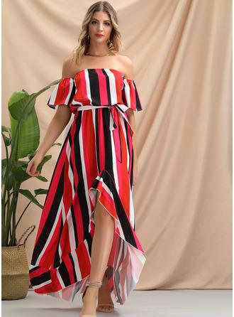 Streep A-lijn-jurk Korte Mouwen Asymmetrische Party Sexy ()