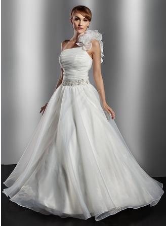 Corte de baile Un sólo hombro Hasta el suelo Organdí Vestido de novia con Volantes Bordado Flores Lentejuelas