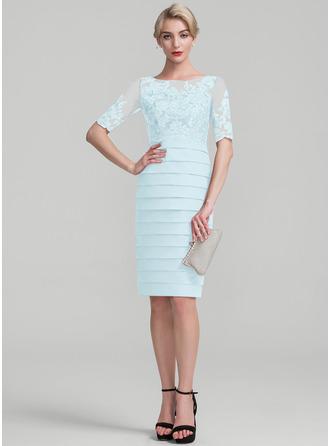 Платье-чехол Круглый Длина до колен шифон С блестками Платье Для Матери Невесты