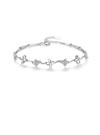 Ladies' Beautiful 925 Sterling Silver With Diamond Cubic Zirconia Bracelets For Bride/For Friends