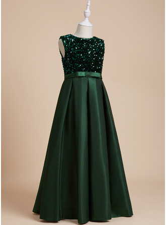 A-Line Scoop Neck Floor-length With Sequins/Bow(s) Sequined Flower Girl Dress
