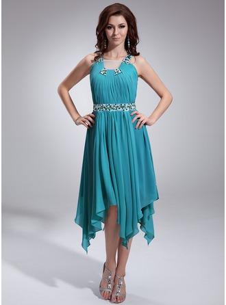 Corte A/Princesa Escote Cuadrado Asimétrico Chifón Vestido de festivo con Volantes Bordado
