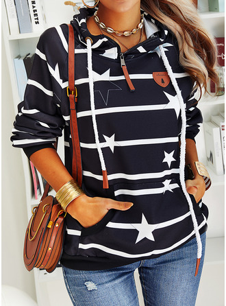 Print Striped Long Sleeves Hoodie