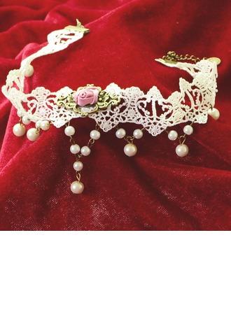 Mode Legierung Faux-Perlen Lace mit Nachahmungen von Perlen Damen Mode-Halskette