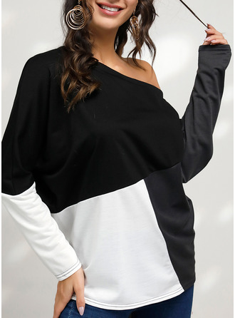 Color Block One Shoulder Long Sleeves Casual T-shirt