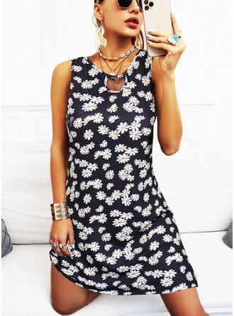 Blumen Druck Etui Ärmellos Mini Lässige Kleidung Urlaub Modekleider