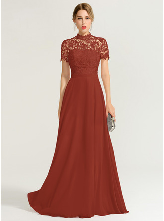 A-Line High Neck Floor-Length Chiffon Prom Dresses