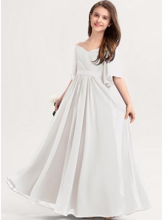 Corte A Off-the-ombro Longos Tecido de seda Vestido de daminha júnior com Pregueado Curvado