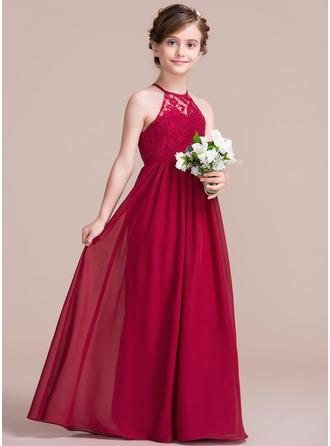 A-Linie/Princess-Linie U-Ausschnitt Bodenlang Chiffon Kleid für junge Brautjungfern