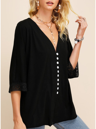 Solid V-Neck 3/4 Sleeves Button Up Casual