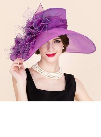 Señoras' Elegante Organdí/Tul Bombín / cloché Sombrero/Derby Kentucky Sombreros
