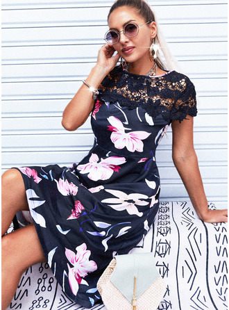 Floral Lace Print A-line Short Sleeves Mini Casual Skater Dresses